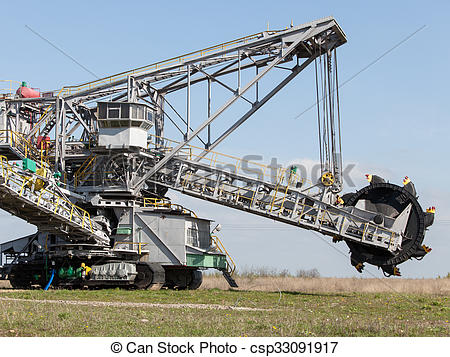 Stock Photography of Opencast brown coal mine. Bucket wheel.