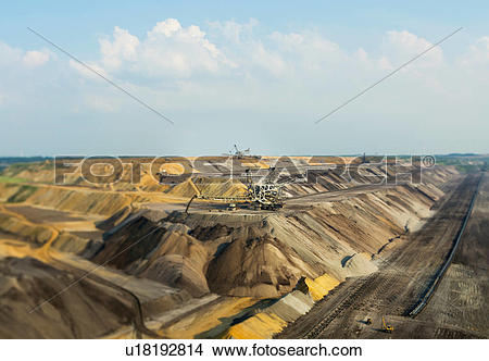 Stock Photo of Opencast site for extracting brown coal, Juchen.