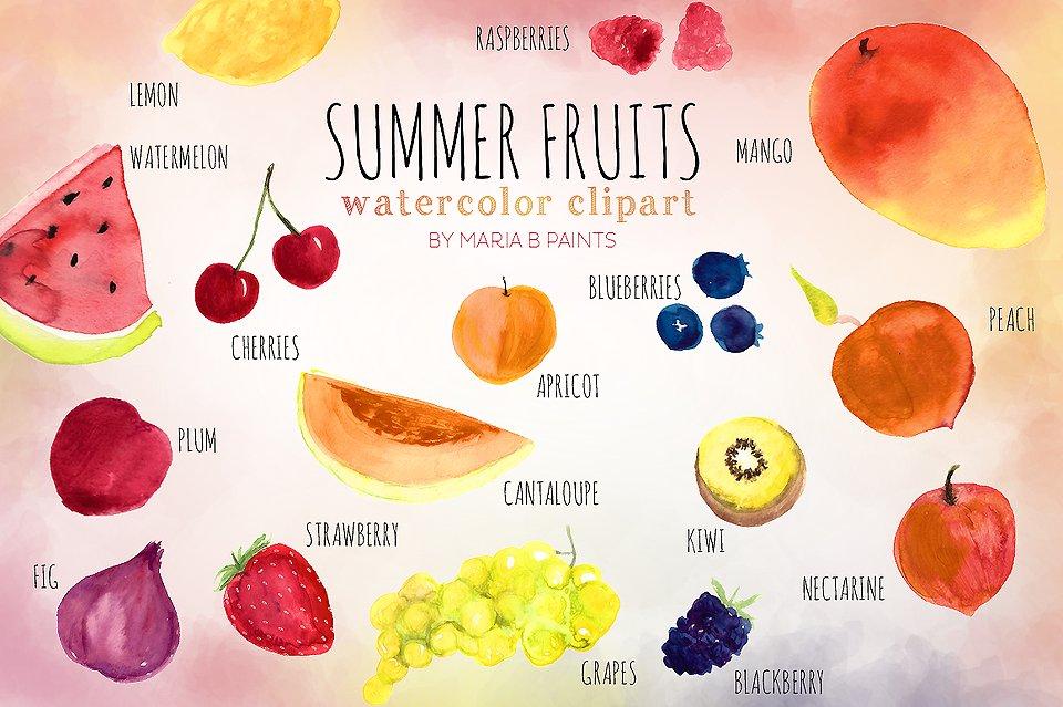 Summer Fruit Watercolor Clip.