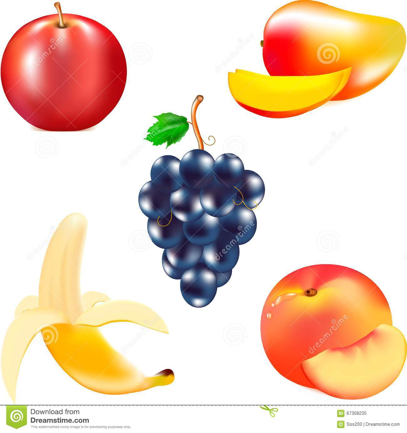 Fruit For Food, Mature Banana, Tasty Mango, Juicy Fruit, Red Apple.