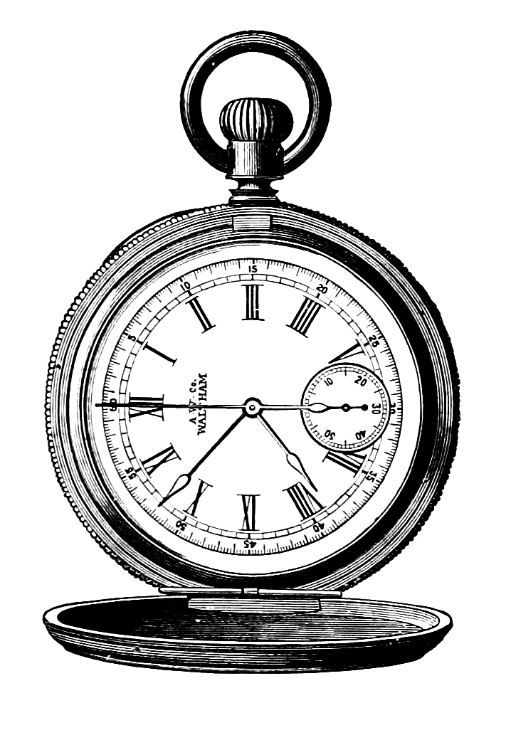 Open pocket watch clipart drawing.