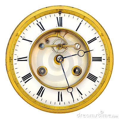 Open Face Clock And Time Stock Image.