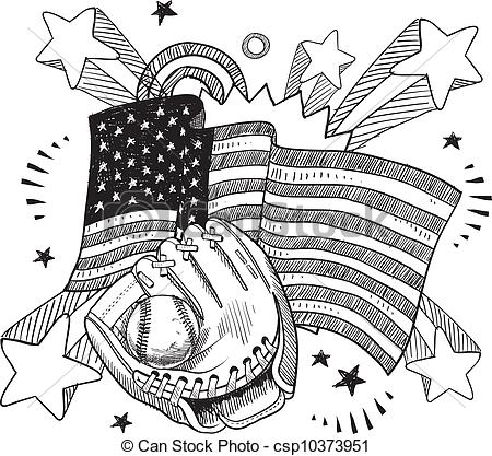 Clipart Vector of American baseball vector sketch.