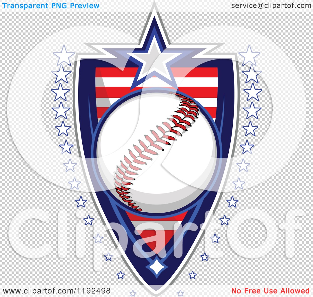 Clipart of a Patriotic Baseball over an American Sripes Shield.