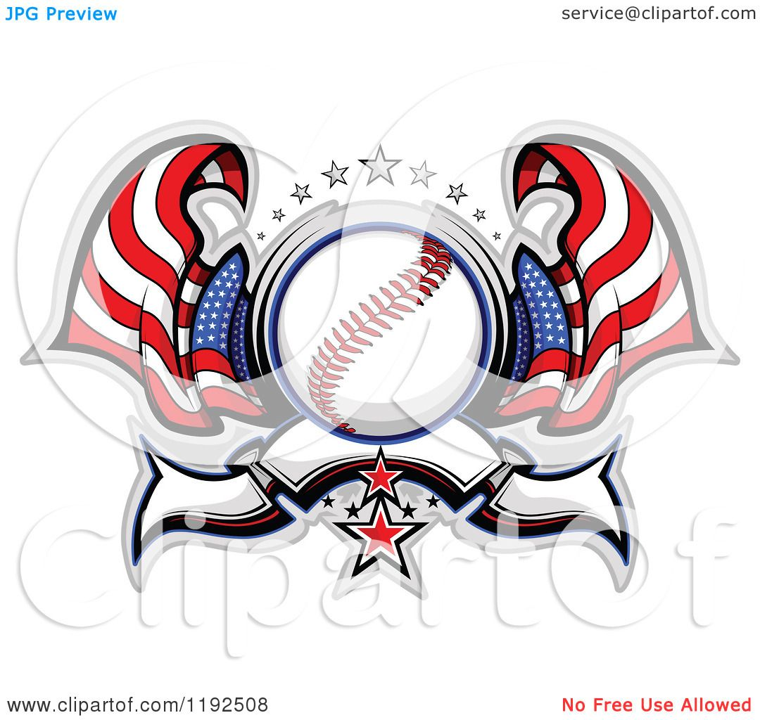 Clipart of a Patriotic Baseball with Two American Flags Stars and.