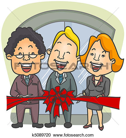 Clipart of Ribbon Cutting Ceremony x12397741.