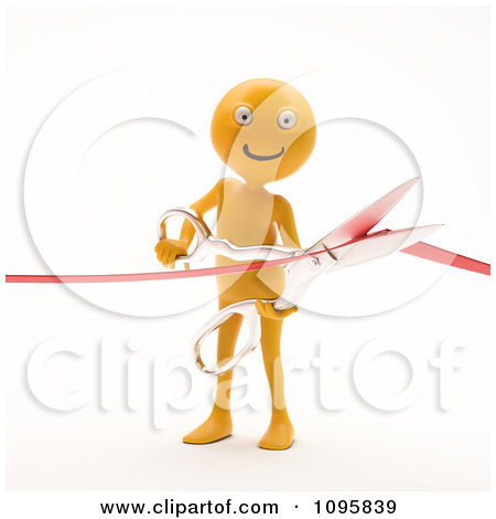 Clipart 3d Orange Man Cutting A Ribbon During A Grand Opening.
