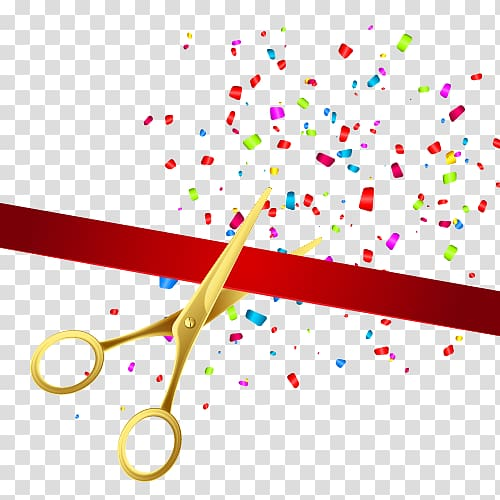 Ribbon cutting illustration, Opening ceremony illustration.