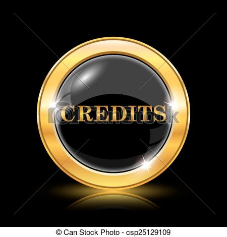 Vector Clipart of Credits icon. Internet button on black.