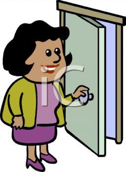 opening a door\