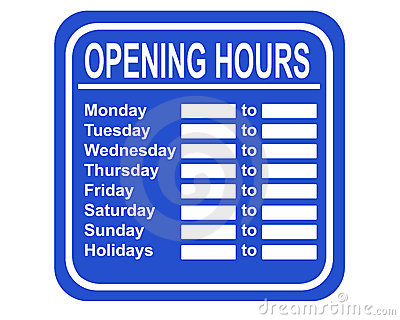 Opening hours clipart.