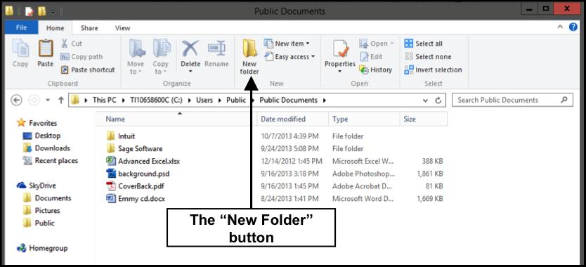 Create a New Folder in Windows 8.