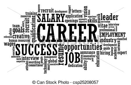 Clipart Vector of job career opportunity openings word cloud.