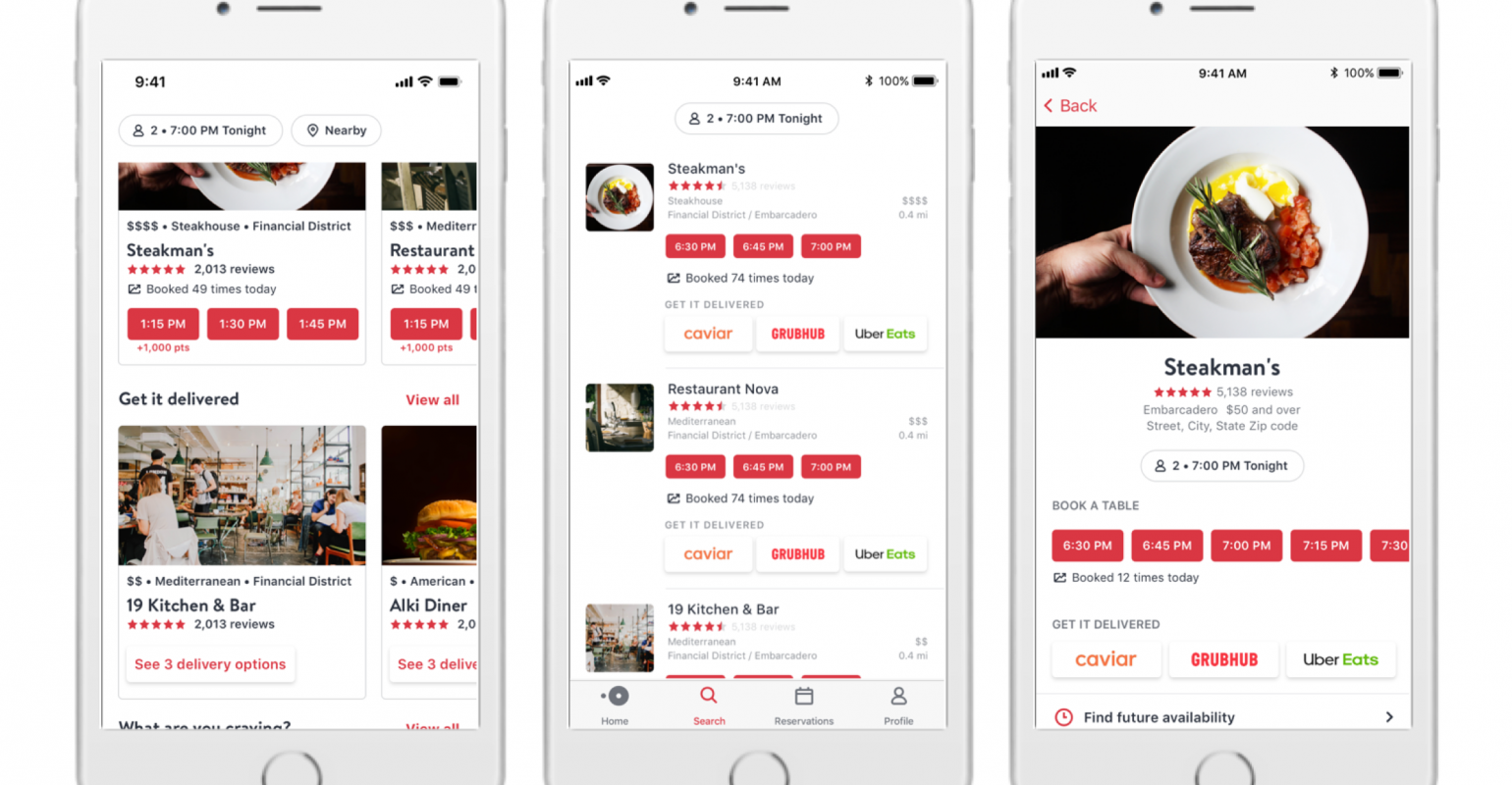 Opentable wades into the delivery wars.