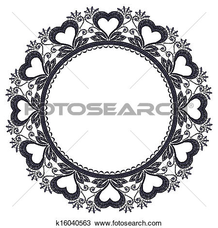 Clipart of Round openwork lace border with hearts. k16040563.
