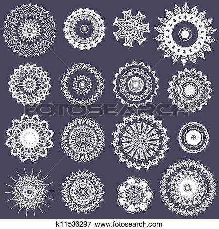 Clip Art of openwork crocheted napkins k11536297.
