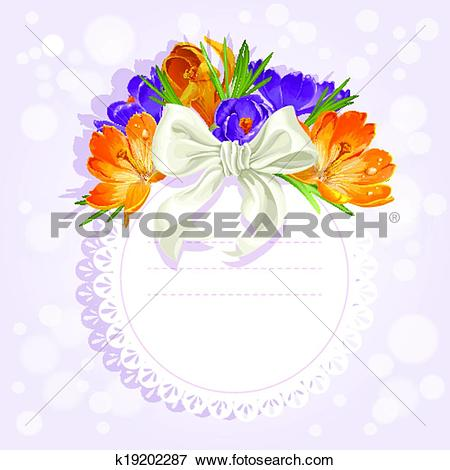 Clip Art of Openwork card with flowers beautiful yellow and purple.
