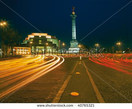 Paris ,Square Opera Bastille By Night Stock Photo 40765321.