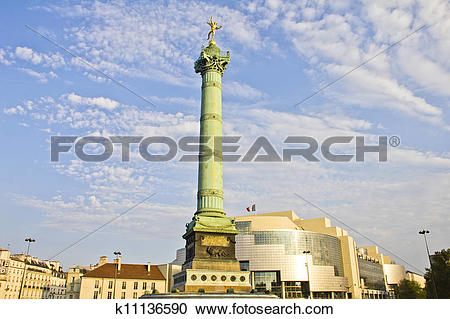 Stock Photography of Place de la Bastille and the and Opera.