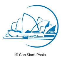 Vectors Illustration of Sydney Opera House Australia Building Icon.