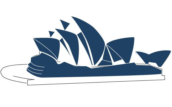 Sydney Opera House Line Art Illustration.