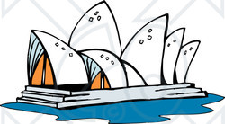 Clipart Illustration of the Sydney Opera House in Australia.