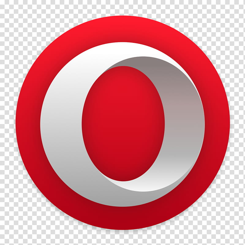 Opera for macOS, round red and white icon transparent.