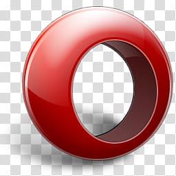 Opera Icon, opera, red ring illustration transparent.