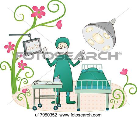 Clip Art of Surgeon Ready to Operate u17950352.