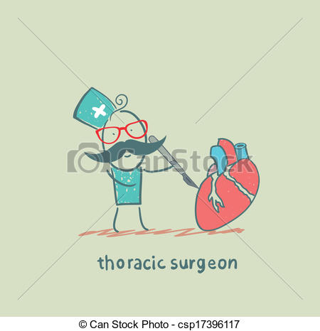 Vector Clip Art of thoracic surgeon operates on the heart with a.