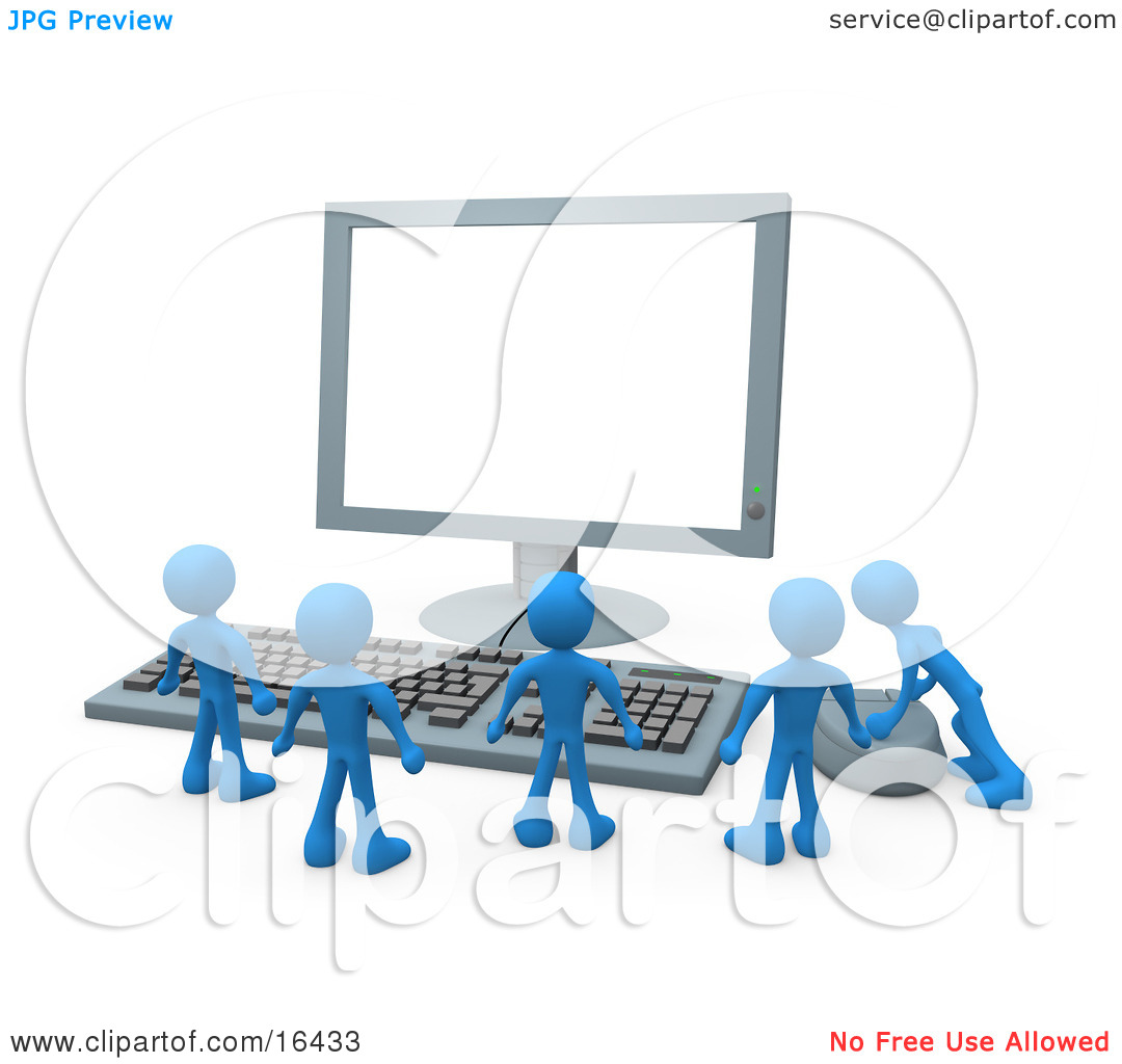 Group Of Tiny Blue Employees Standing In Front Of A Computer.