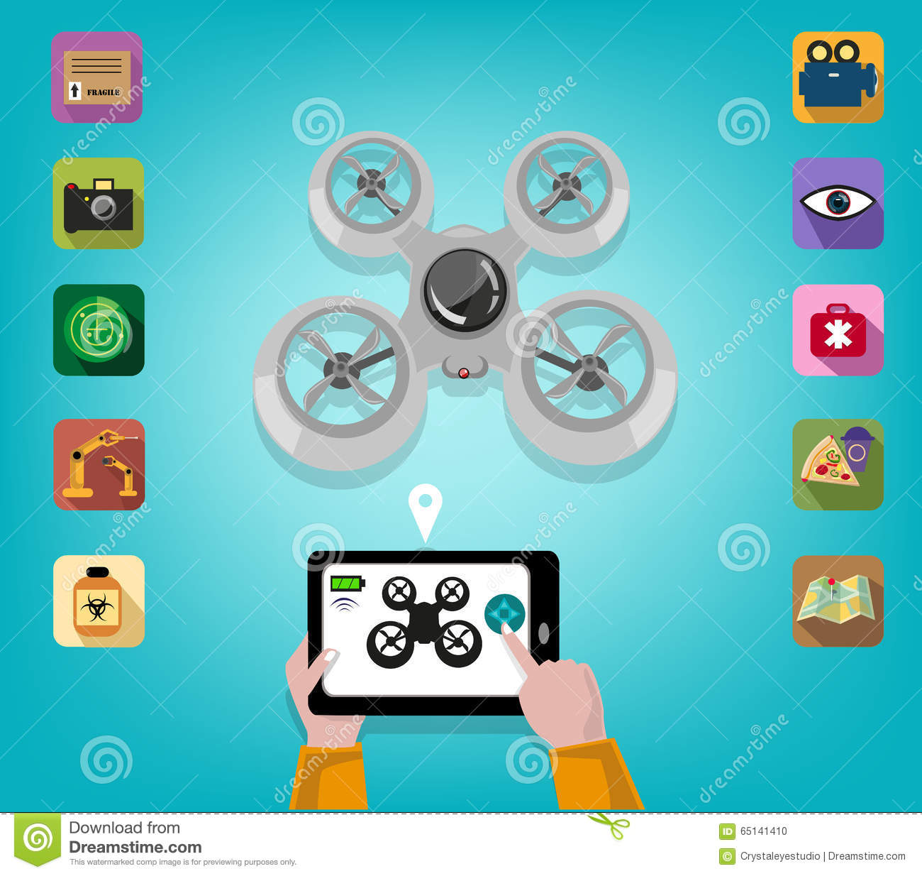 Hand Operates A Drone Using A Tablet Or Smartphone With Icons Of.