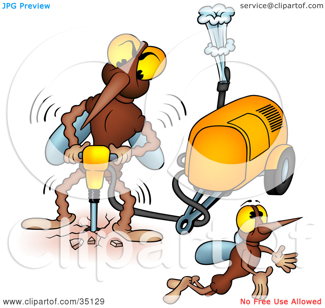 Clipart Illustration of a Mosquito Flying Away From Another While.