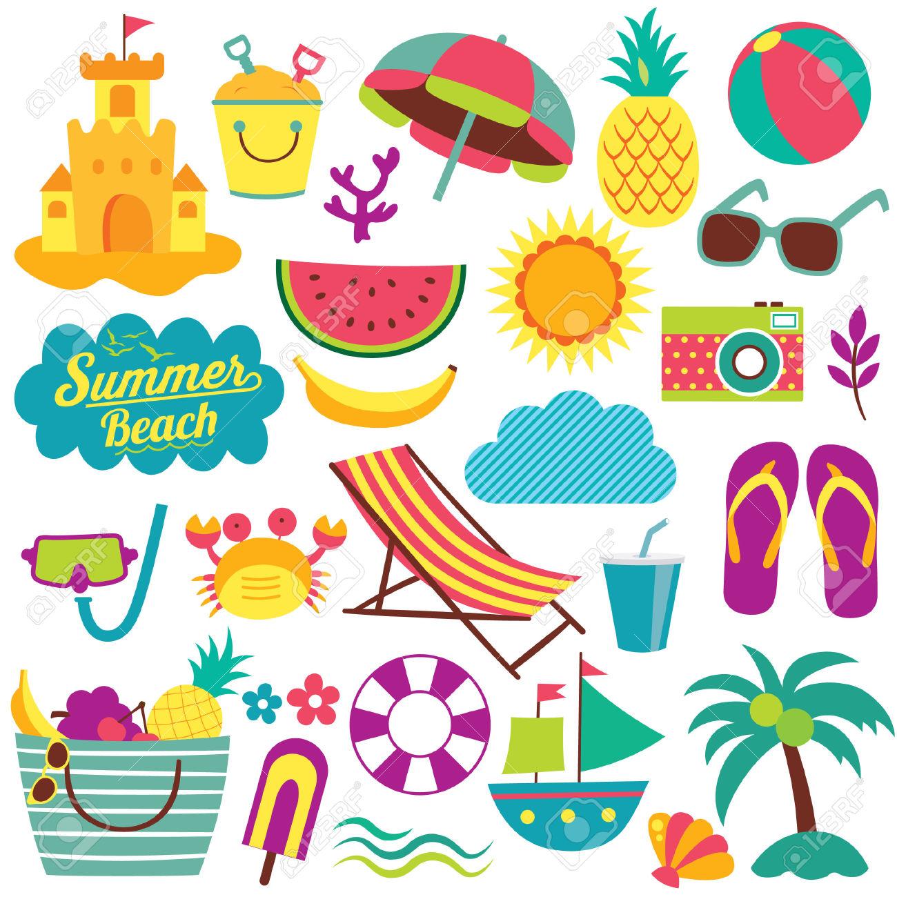 Summer Day Elements Clip Art Set Royalty Free Cliparts, Vectors.