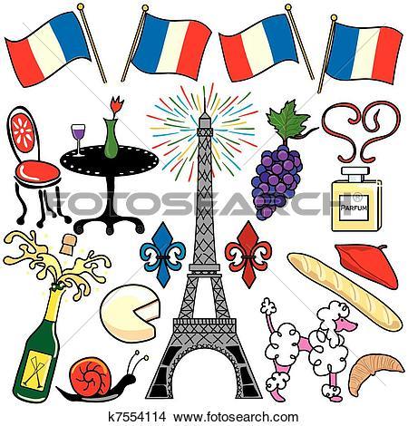 Clipart of Paris France clipart elements icons k7554114.