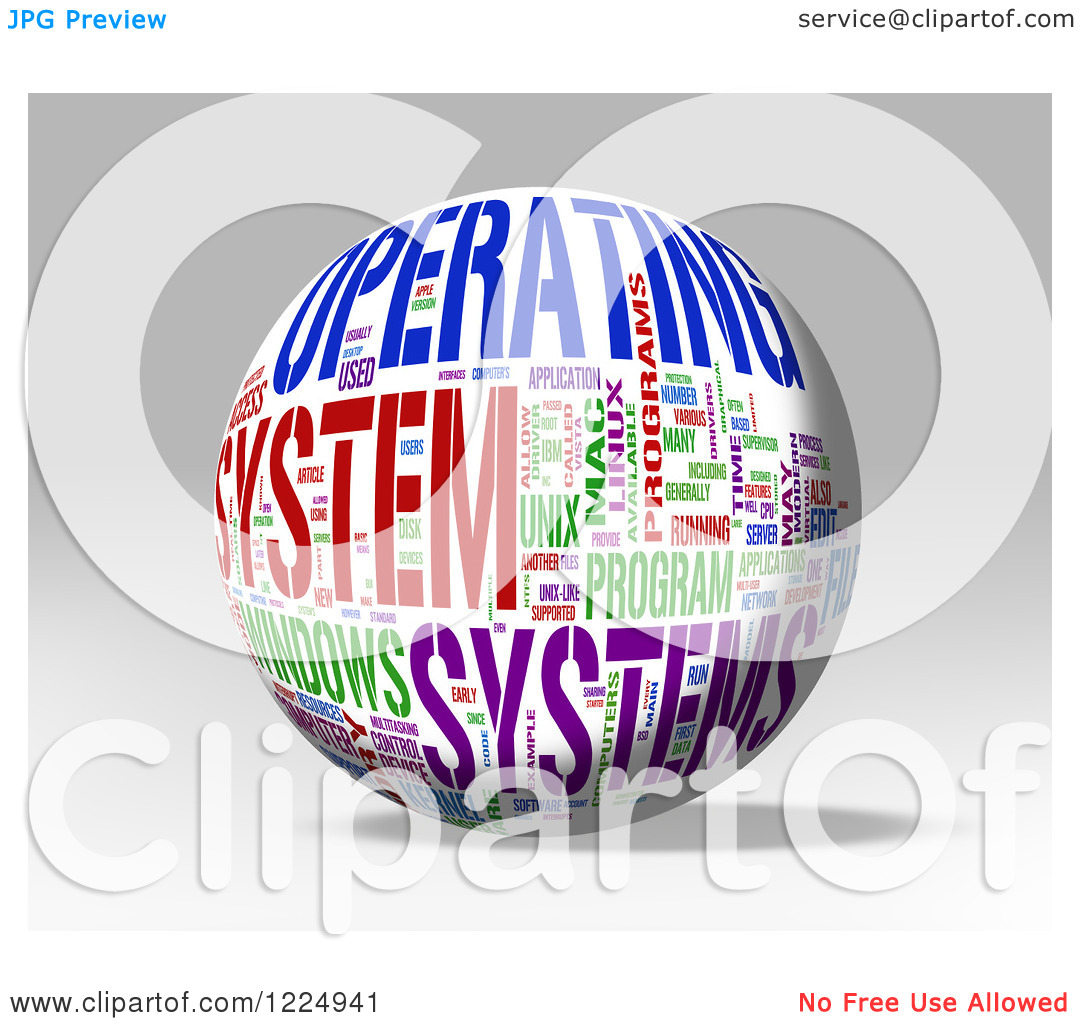 Clipart of a 3d Operating System Word Collage Sphere on Gray.