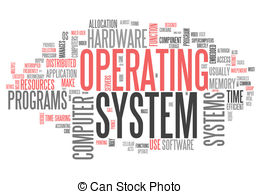 Clip Art of Word Cloud Operating System.