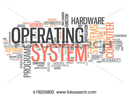 Clip Art of Word Cloud Operating System k19225802.