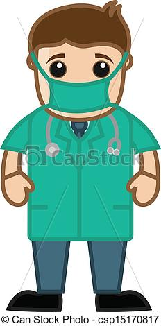 Vector Clip Art of Doctor in Operation Theater Dress.