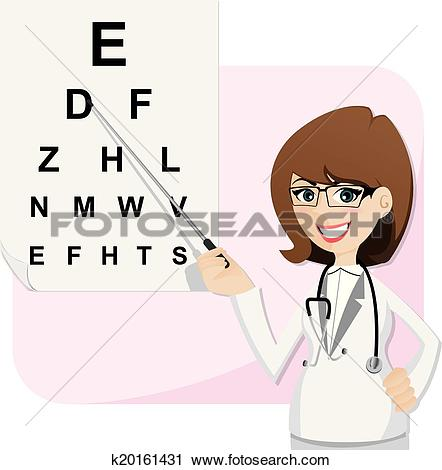 Clipart of cartoon girl ophthalmologist with chart testing.