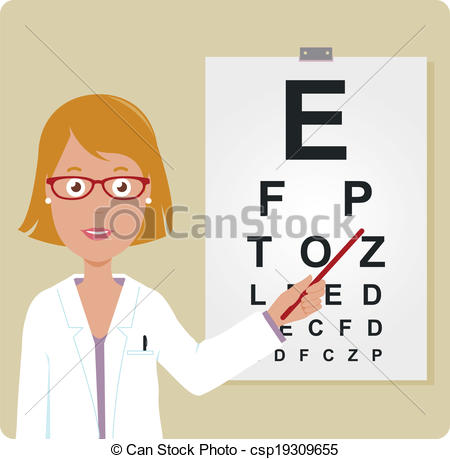 Clipart Vector of Female ophthalmologist.