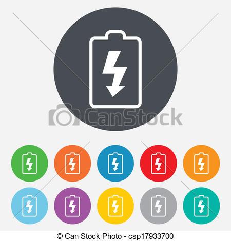 Vector Clipart van batterij, symbool, meldingsbord, pictogram.