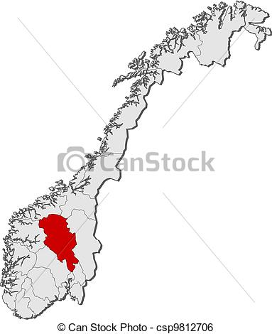 Clip Art Vector of Map of Norway, Oppland highlighted.