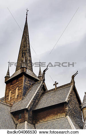 """Stock Photography of """"Lom Stave Church, Lom, Oppland, Norway."""