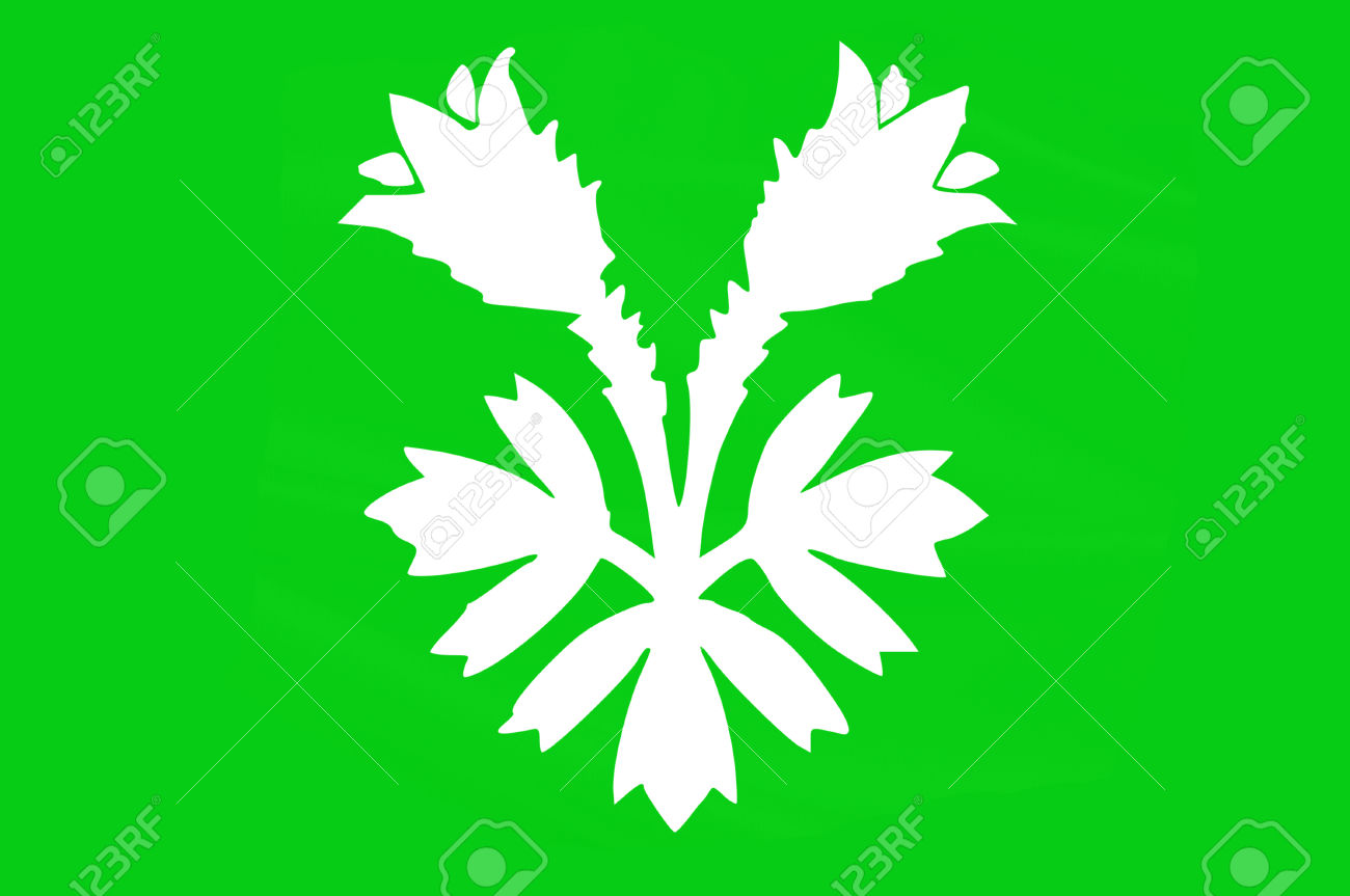 Flag Of Oppland Is A County In Norway. 3d Illustration Stock Photo.