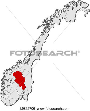 Clip Art of Map of Norway, Oppland highlighted k9812706.