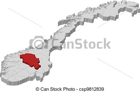 EPS Vectors of Map of Norway, Oppland highlighted.