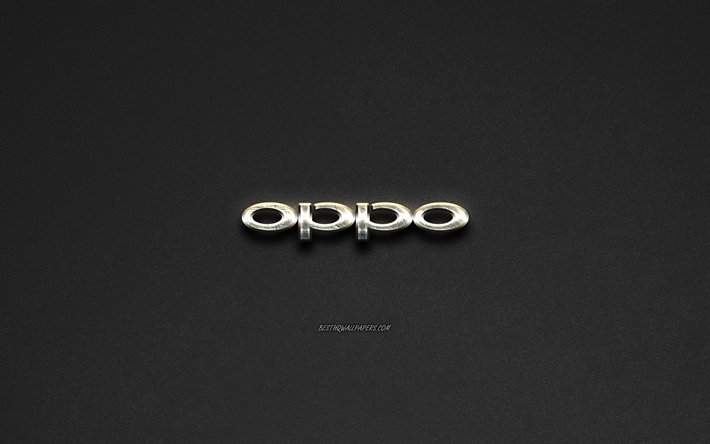 Download wallpapers Oppo logo, steel logo, brands, steel art.