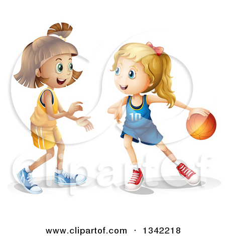 Clipart of a White Girl Dribbling a Basketball by an Opponent.