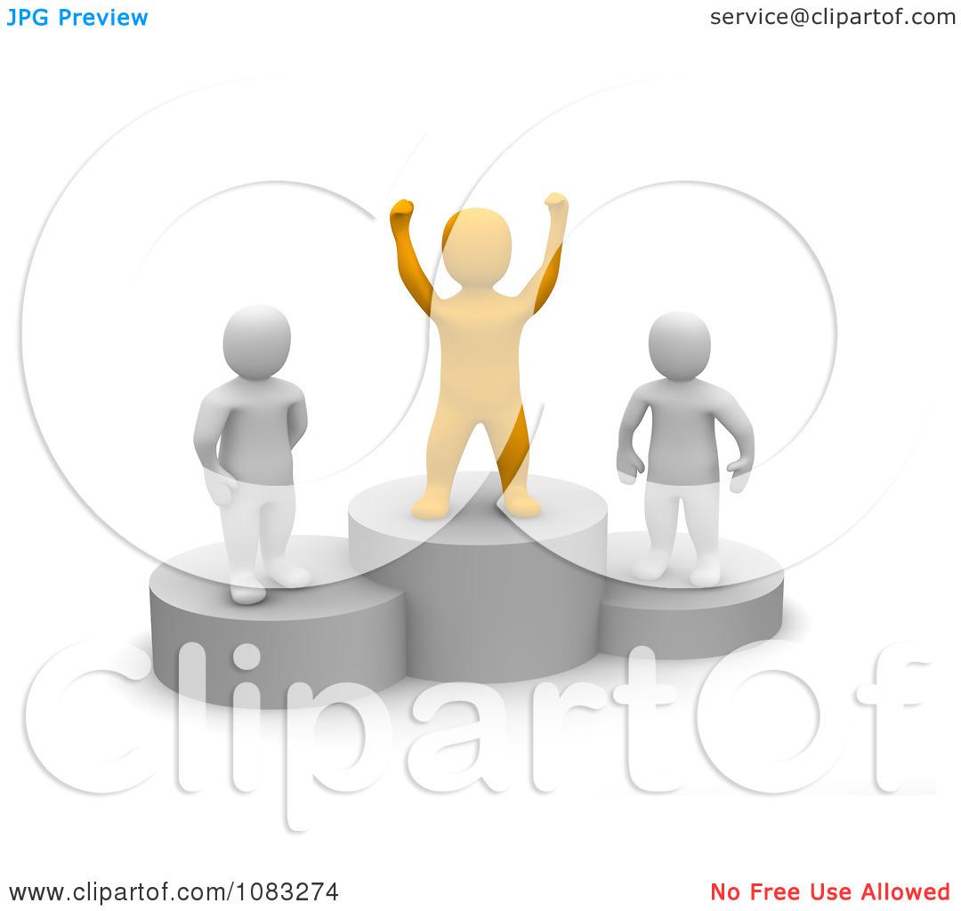 Clipart 3d Orange Anaranjado Man And Opponents On Podiums.